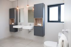 1058 on Schapejacht - Crontech Consulting Modern Bathrooms Interior, Grey Bathrooms, Bathroom Interior Design, Copper Pendant Lights, Mirror Tiles, Floating Wall, Cupboard Storage, Country Estate, Hanging Lights