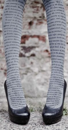 Text tights.  OMG if this could be one of my favorite books I'd die!