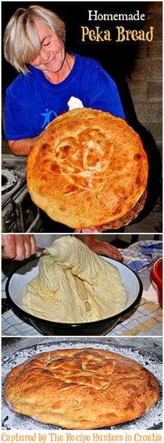 Peka Bread Recipe - A traditional Croatian homemade bread made over the fire. It is crispy and crunchy on the outside, and soft on the inside. Served with olive oil, this bread is one of our favorite appetizers. CAN BE MADE IN REG OVEN. Bread Bun, Bread Rolls, How To Make Bread, Food To Make, Bread Recipes, Cooking Recipes, Cooking Tips, Bon Dessert, Dessert Bread