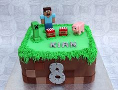 Minecraft birthday cake - Personalised Cakes for Birthdays Weddings and special occasions in London Bolo Minecraft, Easy Minecraft Cake, Minecraft Houses, Minecraft Crafts, Minecraft Party, Minecraft Skins, 8th Birthday Cake, Minecraft Birthday Cake, Mindcraft Cakes