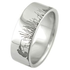 Titanium Wedding Ring Men's Laser-Carved Titanium Ultimate Deer Hunting Ring - Deer hunting jewelry that calls itself the Ultimate Deer Hunting Ring has to put its money where its mouth is. Well, this unique titanium ring says it all. Hunting Wedding Rings, Titanium Rings, Deer Hunting, Hunting Dogs, Bridal Sets, Just In Case, Rings For Men, Bling, Engagement Rings