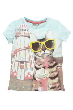Buy Aqua Photographic Cat Top (3mths-6yrs) from the Next UK online shop