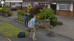 A couple of UK youth line up for the Google Street View camera.
