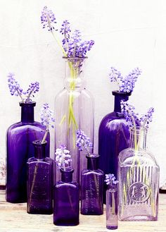 Purple bottles Find gorgeous purple to lavendar decorative vintage and antique collectibles and home furnishings at www.rubylane.com @rubylanecom #homedecor