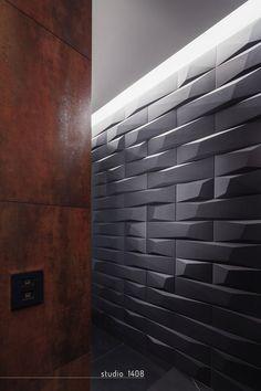 Amazing ceramic tiling Minimalist Apartment Design In Bucharest Uncovering Luxury Finishes Zeitgenössisches Apartment, Apartment Design, Contemporary Apartment, Geometric Tiles, 3d Tiles, Tiling, Bathroom Vanity Designs, Bathroom Wall, Arquitetura