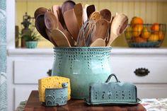 Extra Large Kitchen Utensil Holder - Aqua Mist - Hand Thrown Vase - Modern Home Decor - MADE TO ORDER