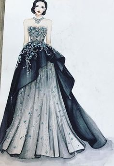 The picture can contain: 1 person # contains # picture # person - - Dress Design Drawing, Dress Design Sketches, Fashion Design Sketchbook, Dress Drawing, Fashion Design Drawings, Wedding Dress Sketches, Dress Illustration, Fashion Illustration Dresses, Fashion Week