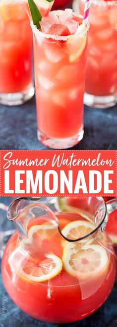 Summer Watermelon Lemonade | Sipping on this refreshing watermelon and pineapple lemonade is like taking a drink of pure summer!  Easy to make, and you can add a bit of alcohol for an adults-only beverage! | thechunkychef.com