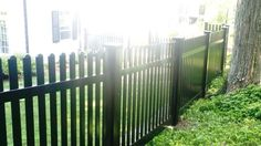Black vinyl picket fencing