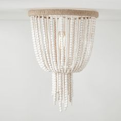 Antique Style Bell Shape Flush Mount Ceiling Fixture Wood Beads Single Light White Ceiling Light for Indoor, Fashion Style Traditional Lighting Wood Bead Chandelier, Pendant Lighting Bedroom, White Chandelier, Chandeliers, Nursery Chandelier, Chandelier Lighting, Ceiling Fixtures, Ceiling Lights, Lanterns