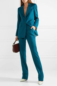 Teal Slim-Leg Pants | Spring's biggest trend will help you get dressed for work quicker than ever. Find out all of the details and shop the colorful suit trend here.