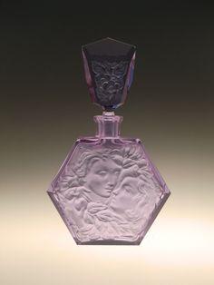 Bohemian Czech Art Deco Alexandrite Glass Perfume Bottle with Lovers by Rudolf Hlousek by VintageRetroEu on Etsy