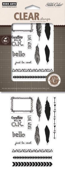 Hero Arts - Studio Calico - Sundrifter Collection - Poly Clear - Clear Acrylic Stamps - Frame and Feathers at Scrapbook.com