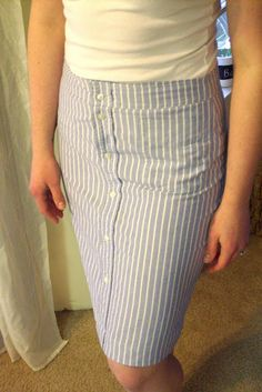 #Sewing Tutorial: Make a woman's skirt out of a men's shirt -- we love this! Great way to re-use old shirts that don't fit or have some holes, this #tutorial makes the process easy for you.