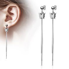 Pair of Two Tone Butterfly and Chains Dangle on Ball Stainless Steel Stud Earrings Bar Size: 20 Gauge mm) Material: Surgical Steel Plating: Surgical Steel Sold by: 1 Pair Bar Stud Earrings, 316l Stainless Steel, Piercing, Studs, Dangles, Hair Accessories, Butterfly, Pairs, Plating