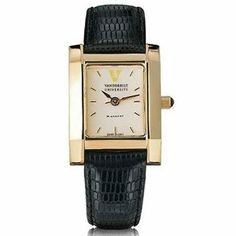 """Vanderbilt University Women's Swiss Watch - Gold Quad with Leather Strap by M.LaHart & Co.. $299.00. Swiss-made quartz movement with 7 jewels.. Three-year warranty.. Attractive M.LaHart & Co. gift box.. Officially licensed by Vanderbilt University. Classic American style by M.LaHart. Vanderbilt University women's gold watch featuring Vanderbilt logo at 12 o'clock and """"Vanderbilt University"""" inscribed below on cream dial. Swiss-made quartz movement with 7 jewels. Cre..."""