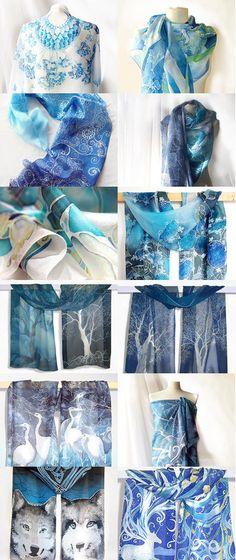 My blue silk scarfs by Luiza Malinowska on Etsy www.minkulul.etsy.com