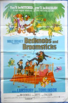 BEDKNOBS AND BROOMSTICKS MOVIE POSTER Walt Disney Angela Lansbury 1971 1sht