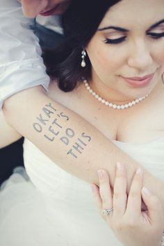 "13 Rad Ideas For A Tattoo-Inspired Wedding. ""Tattoo"" and ""wedding"" should never be in the same sentence, if you ask me Tacky Wedding, Wedding Pics, Budget Wedding, Wedding Trends, Wedding Bells, Diy Wedding, Wedding Styles, Wedding Ideas, Wedding Images"