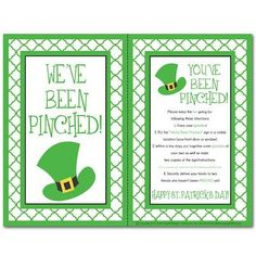"""A very CUTE version of """"You've been Boo'd""""  for St Patrick's Day!  SO FUN... but watch out for those pesky little leprechans...  :)  :0  :)"""