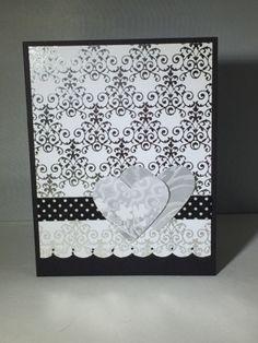 Love hard, heart, wedding silver and black