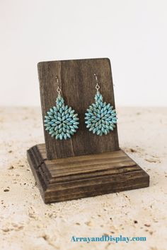 Handcrafted solid wood earring jewelry display with a single, removable card for wire earrings.  Many other color options available.  Handcrafted by ArrayandDisplay.com.  Made in the USA (Texas)