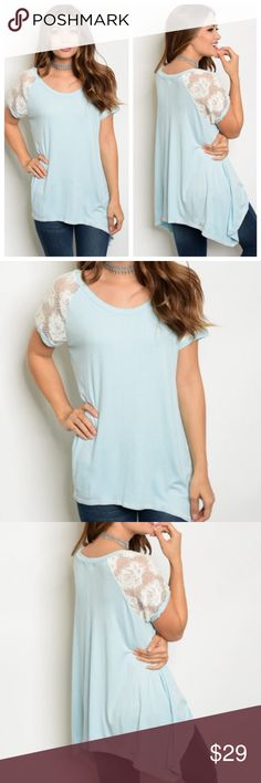 Light Blue Top w/ Lace Sleeves Adorable blue top with cute lace sleeves! Perfect for spring and summer! 95% Rayon, 5% spandex! Please ask for measurements if needed! Tops