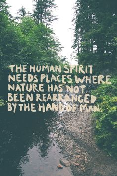 The human spirit needs place where nature has not been rearranged by the hand of man