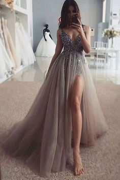 Stunning Prom Dresses, Pretty Prom Dresses, Prom Party Dresses, Ball Dresses, Sexy Dresses, Ball Gowns, Gray Prom Dresses, Dress Party, A Line Dresses