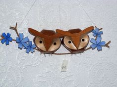 tufted owlet duo on a floral branch by kaperonline on Etsy