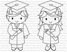 Digital Stamp - Billy and Lilly Graduate. $3.00, via Etsy.