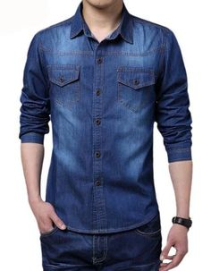 New 2016 Spring Man Dress Shirt Camisa Jeans Masculino Slim Fit Classic Casual Men Camisas Social Long Sleeve Men Denim Shirts. Product ID: Fitted Denim Shirt, Denim Shirt With Jeans, Fall Jeans, Men's Denim, Jean Shirt Men, Jean Shirts, Denim Shirts, Stylish Mens Outfits, Plus Size Jeans