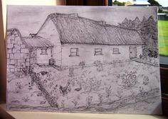 Pencil drawing.   My memory of my grandma Finneran's house.  (Ber. August 2012)