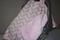 Deluxe Pink and White Chevron Carseat Canopy by DesignsbyChristyS, $45.00