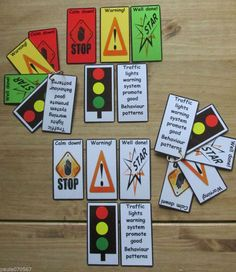 Warning system NEW DESIGN Visual flash cards / strips ASD~AUTISM~SEN~ Childcare~
