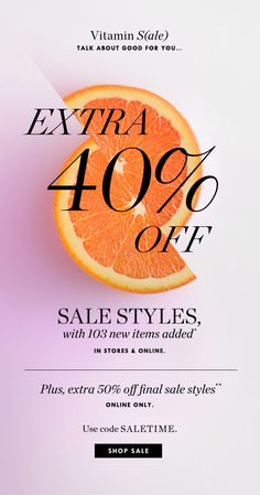 J.Crew: A little vitamin S(ale) to start your day: extra 40%-50% off sale styles | Milled Business Poster, Design Campaign, Sale Emails, Fashion Banner, Email Newsletter Design, Email Design Inspiration, Email Marketing Design, Promotional Design, Email Campaign