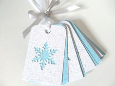 Love the blue and white! Party Favor Tags, Gift Tags, Frozen Tags, Glitter Cardstock, All That Glitters, Cute Gifts, Snowflakes, Card Stock, Favors