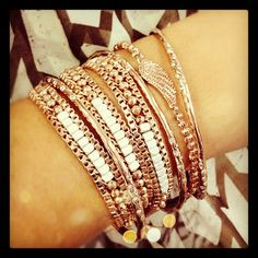 Gorgeous layering! Luna Wrap, Rhea Bangles in Rose Gold, Hope Bracelet for Breast Cancer Research!
