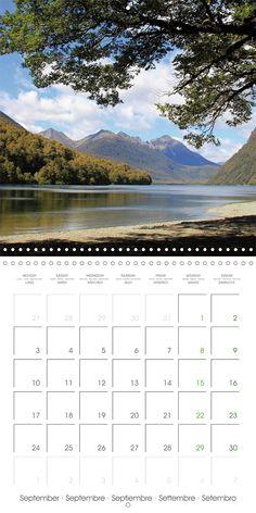 "Reisekalender mit Planer ""New Zealand – Variety of the South Island"", Kalenderblatt September: Mirror Lakes"