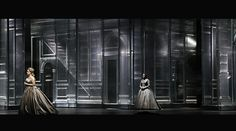 Es Devlin OTELLO - movable glass panels with architectural details