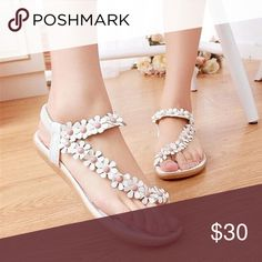 🌷Cute Flower Sandals🌷 Size: 7.5 - 8. They are very light and comfortable. The sole is rubber and has a rose imprint on the bottom as to leave a rose footprint. 👣No trades please! Shoes Sandals