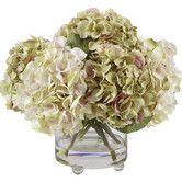 Found it at Wayfair - Lavender and Green Hydrangeas Floral Arrangements in Glass Vase