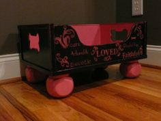 Such a cute toy box! Pink and Black Pet Toy Box by PoshPuppyDesigns on Etsy Wooden Toy Boxes, Wooden Toys, Dog Toy Box, Cute Toys, Dog Toys, Storage Organization, Toy Chest, Pets, Handmade Gifts