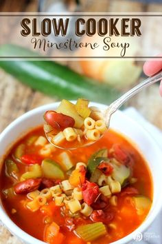Slow Cooker Minestrone Soup   Crock Pot Soup Recipes are the perfect fall and winter meal. Hearty & delicious! Find the recipe and more slow cooker meals on TodaysCreativeLife.com