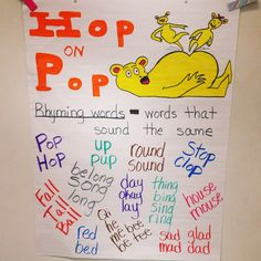 Hop on Pop--Rhyming Words Anchor Chart