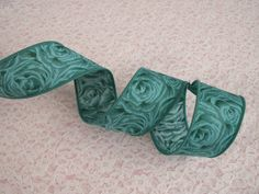 """Teal Ribbon, 1 3/8"""" Wide, Wired Edge, Ribbon with Roses, 3 YARDS, Bows, Wreaths"""