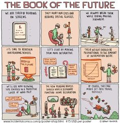 The Book of the Future © Grant SNIDER (Cartoonist) via his site, Incidental Comics, Apr 1 2012 post. Appeared in The New York Times Sunday Book Review. This guy is a hoot! :-) Poster 15.00 USD. Yeah, even cartoonists have bills to pay ... The law requires you credit the artist. Pin directly from the artist's website. TO FIND the ORIGINAL WEB SITE of an online image: http://pinterest.com/pin/86975836525507659/