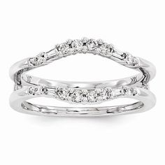 NEW 14K WHITE GOLD WEDDING RING DIAMOND DUAL WRAP GUARD ENHANCER .31 CT TW SZ 7 #WithDiamonds