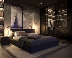 51 Beautiful Black Bedrooms With Images, Tips & Accessories To Help You Design Yours Inspiration for stylish black bedroom decor schemes: All black bedrooms, monochrome and wood decor, red and black bedrooms, black bedroom furniture and bed sets Black Bedroom Decor, Fancy Bedroom, Black Bedroom Furniture, Bedroom Sets, Home Decor Bedroom, Black Bedrooms, Girls Bedroom, Bedding Sets, Pretty Bedroom