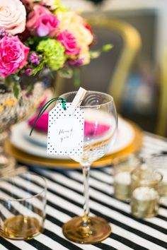 """Kate Spade Inspired Wedding Styled Shoot- Glasses with a cute """"thank you"""" tag"""
